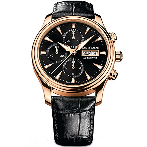 Louis Erard Men's Heritage 40.3mm Black Leather Band Rose Gold Plated Case Automatic Watch 78259PR12.BRC02