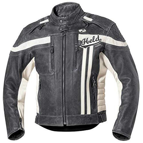 Held Harvey 76 Retro Lederjacke, Farbe schwarz-weiss, Größe 56