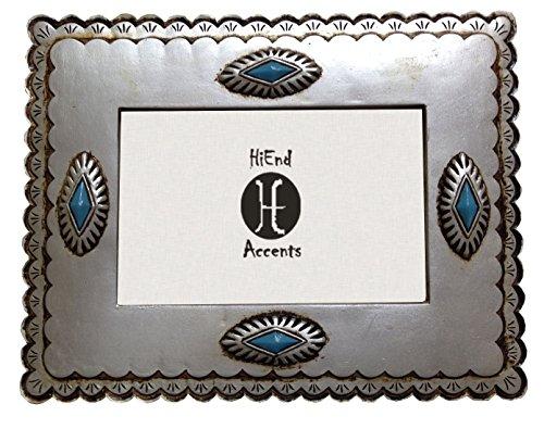 (HiEnd Akzente Western Silber Rahmen mit achtflächige türkis Conchos, 4x 6)