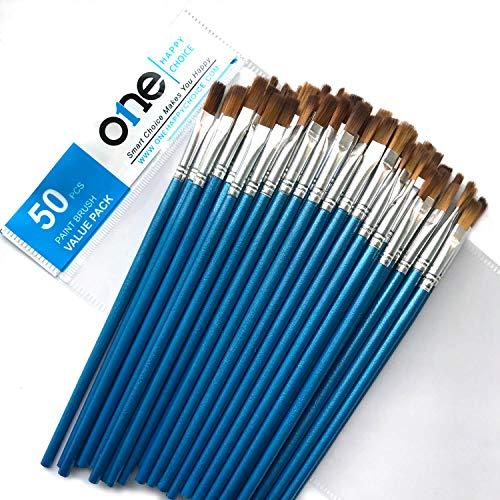 Confezione da 50 pezzi di pennelli piatti, setole morbide di zibellino, di piccole dimensioni, manico corto, set di pennelli per acrilico, olio, pittura ad acquerello, trucco preciso, pennello a secco