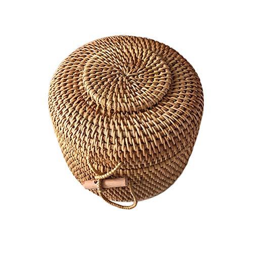 Natürliche hand-woven Rattan-speicher-korb,Mit deckel Öko-gedämpftes brot lagerung obstkorb,Wichtigsten spielzeug aufbewahrungsboxen-Primärfarben 23x23cm(9x9inch) -
