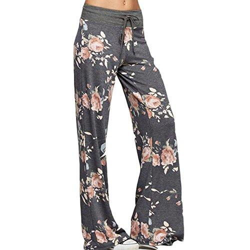 KINDOYO Femmes Wide Leg Floral Print Drawstring Pantalons de Yoga Gris foncé