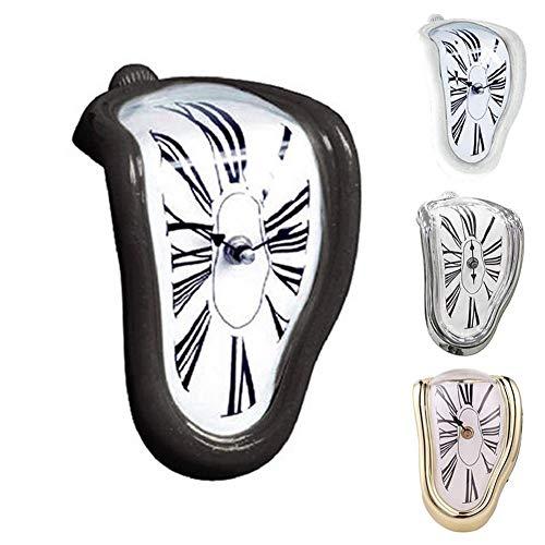 LIHUOPIN Orologio da Parete, Innovativo Orologio da Parete Stile Divertente Tavolo da Pranzo Stile Fusione Angolo Numeri Romani Angolo retto Retro Orologio da Tempo a deformazioneBlack