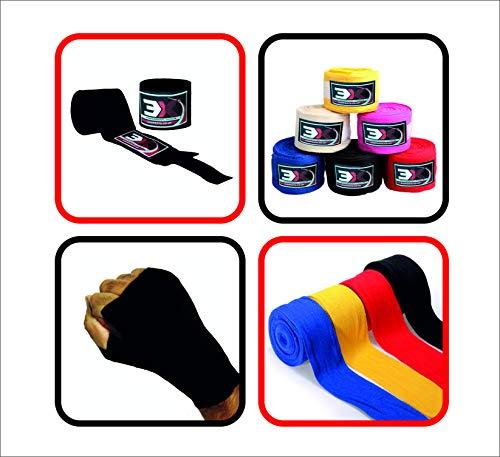 Vendas de boxeo, 3x, deportes, cubiertas para mano, guantes interiores, Muay Thai, algodón, muñeca, M, negro