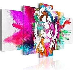 BD XXL murando Impression sur Toile intissee 200x100 cm cm 5 Parties Tableau Tableaux Decoration Murale Photo Image Artistique Photographie Graphique Abstrait Animal Animaux Lion coloré g-C-0019-b-n