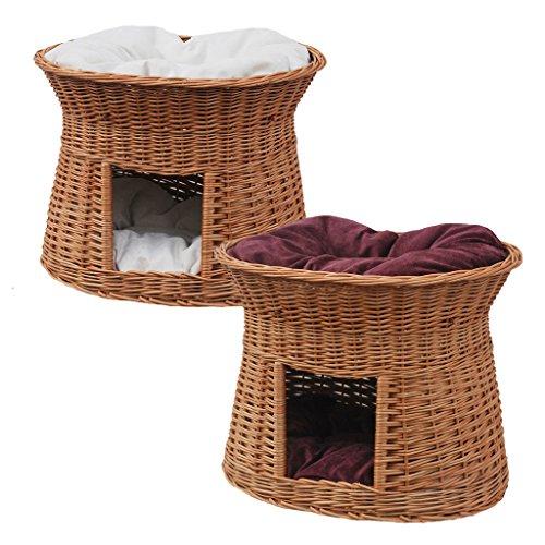 katzeninfo24.de 2-81-5 Ovale Katzenhöhle aus Weide von GalaDis. Mit zwei Kissen. Ein Katzenkorb für Ihre Katze zum Ruhen und Spielen / Katenturm / Katzenbett