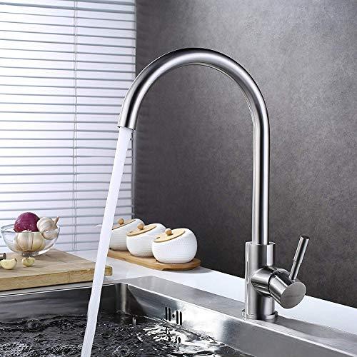 BONADE Edelstahl Küchenarmatur 360° Drehbar Wasserhahn Gebürstet Mischbatterie Hochdruck Armatur Küche Spültischarmatur Einhebelmischer für Küche Spüle