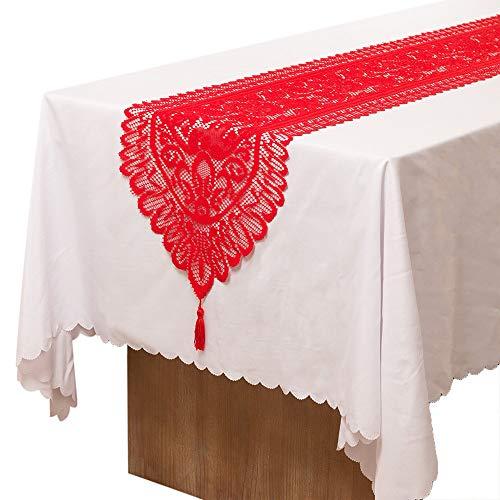 Rot Rustikal Esstisch (Wokee Weihnachten Häkel Baumwolle Spitze Tischläufer Tischdecke,33x180cm,Dinner Parties Restaurant Hochzeit Party Esstisch Farmhouse (Rot))