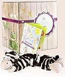 Warmies Geschenkset - Multi Hot Pak Zebra mit Lavendelduft Wärmekissen + Edle Geschenkverpackung + Büchlein mit spannenden Kindergeschichten