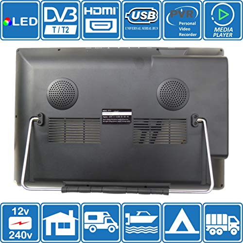 51JDcDwML4L - Autocaravana Caravana Barco Cocina 12 voltios 14 Pulgadas LED TV Digital HD DVB-T2. TDT y Toda la televisión de Europa. 12V 230V USB PVR y Reproductor Multimedia, Monitor CCTV HDMI de Unispectra®