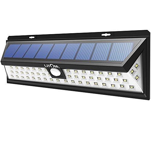 Litom Solar Security Lights 54 LED, Solar Lights Garden Super Bright Solar Wall Lights, Outdoor Waterproof Solar Power Lights with LED on Both Sides for Garden, Patio, Deck, Path Lighting