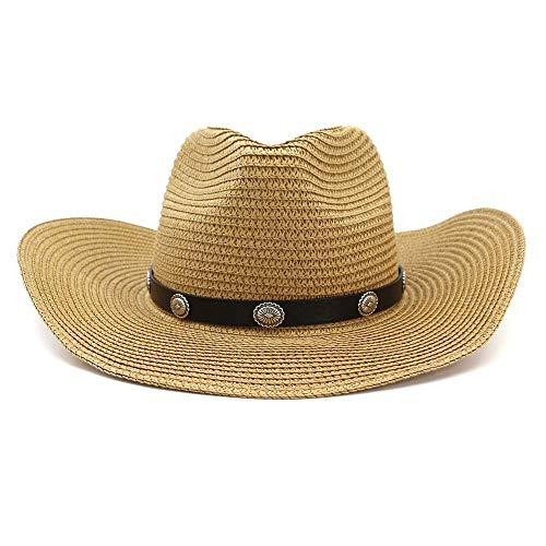 WGYXM Hut, männlicher und weiblicher Western Cowboy Strohhut, Outdoor Strandhut, Sonnenschirm, braun, M