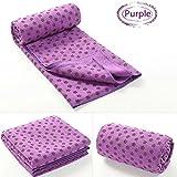 183* 63cm antiscivolo tappetino da yoga–Asciugamano in microfibra ad asciugatura rapida, con borsa per trasporto, Purple