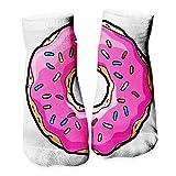 Ferocity Lustige Socken Sneaker Halbsocken Strümpfe Sportsocken Füßlinge mit Motiv 3D, Pink Donut, 36 - 40