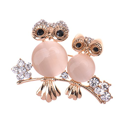 V-EWIGE Pretty Style Elegant Rhinestone Couple Owl Brooch and Pin for Women