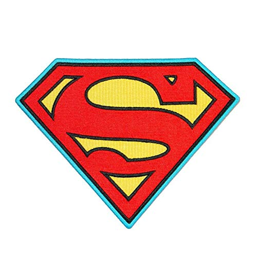 LipaLipaNa Superman Symbol S-Logo Patch Superhero Costume Emblem DC Comics Iron-On Applique Aufnäher Besticktes Patch zum Aufbügeln Applique Souvenir Zubehör (Superman Iron On Patch)