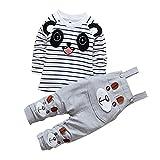 CHIC-CHIC Ensemble Salopette avec Haut Longues Manches Bébé Garçon Fille Panda Rayure Haut T-shirt Mignon 18-24mois Gris