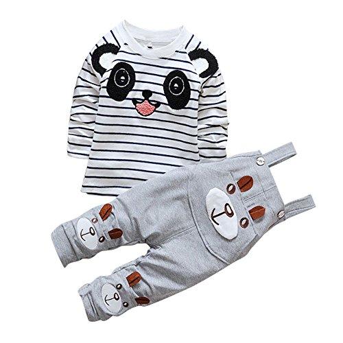 CHIC-CHIC Ensemble Salopette avec Haut Longues Manches Bébé Garçon Fille Panda Rayure Haut T-shirt Mignon 12-18mois Gris