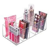 mDesign Organizador de maquillaje - Caja transparente con 6 compartimentos...