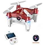 Beebeerun Mini Drone Plegable con Cámara, Altitude Hold 360 ° Flips 2.4Ghz Modo de Baile FPV RC Quadcopter para Principiantes, rojo