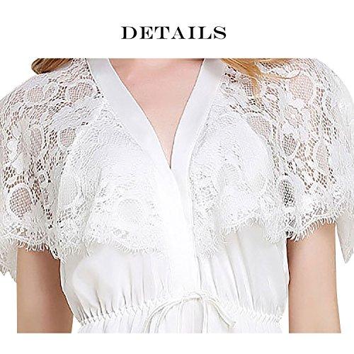 Dolamen Chemises de nuit Femmes Satin, Femmes Ensemble de Pyjama, Luxe & Lingerie Mousseline à manches courtes Long Nightdress Dentelle chemise de nuit longue Blanc