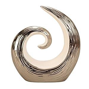 Lifestyle & More Moderne Skulptur Dekofigur aus Keramik weiß/Silber Höhe 17 cm