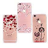 Freessom Lot de 3 Coque iPhone 6 plus/6s Plus Silicone Transparente Motif Fleur de...