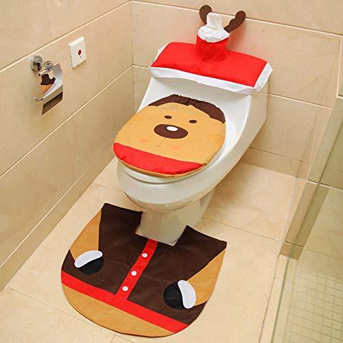 L&Z 3 Stücke Weihnachten Badezimmer Set, Weihnachten Toilettendeckel WC Sitzbezug, Cartoon Swonman...