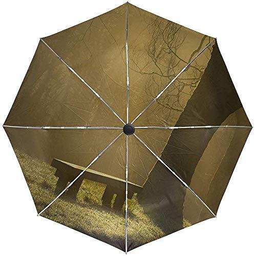 Fine automatica aperta piegante impermeabile antivento conveniente di viaggio della nebbia della foresta del banco dell'ombrello