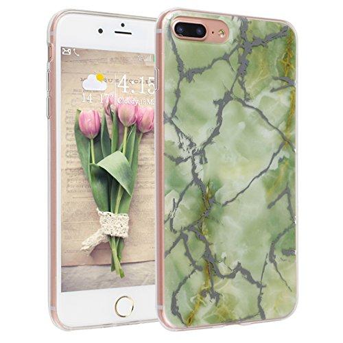 iPhone 7 Plus Hülle Marmor Silkon, Asnlove iPhone 7 Plus 3D Marble Hülle Schutz Handy Hülle Handytasche HandyHülle Etui Schale Case Cover Tasche Schutzhülle mit IMD Technologie Design Grün (Pluscases Sechs Iphone)