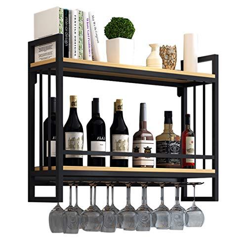 Weinregale Holz mit glashalter Wandmontage Metall | Hängend Weinglashalter Regal Schiene | Weinständerl mit Glashalter |Weinflaschenhalter Wand aufgehängt | Flaschenregal für Küche, Schwarz