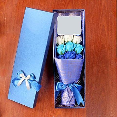 Valentinstag Geschenke, kreative Rosen, Seife, Blumen, Weihnachtsgeschenke, 9 Seifen plus Jungen, Blau