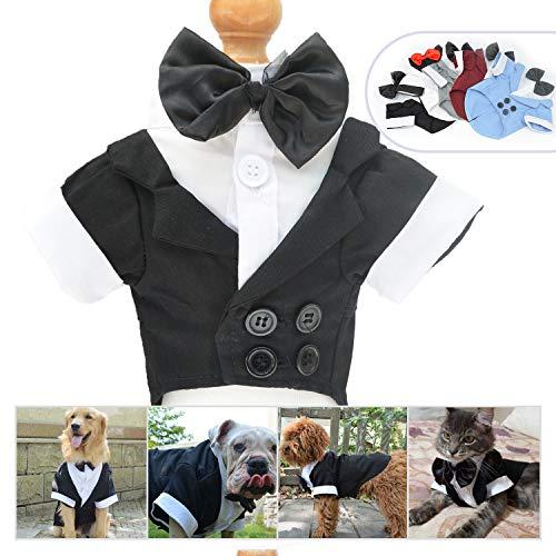 longlongpet Haustierkleidung für Hunde und Katzen, Smoking mit Schleife, Hochzeitsanzug, Partykostüme für kleine, mittelgroße und große Hunde -