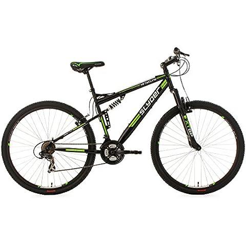 KS Cycling Fully Slyder - Bicicleta de montaña, color negro y verde, ruedas 29