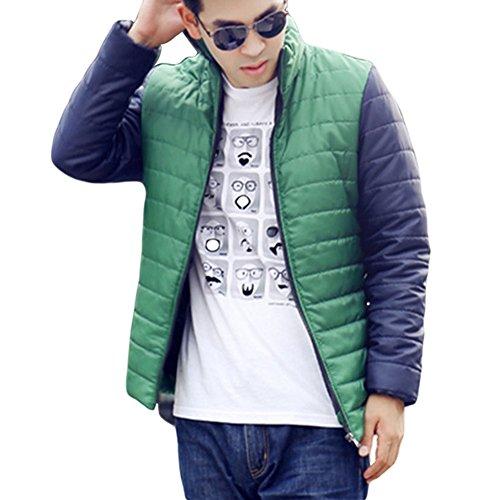 Meijunter Männer Slim Fit Comfort dicken Mantel Wilde Hit Farbe Stitching Baumwolle Sport-Jacke Green