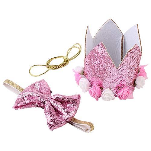 SparY Cappello con Corona di Compleanno per Cane, Copricapo con Glitter per Animali Domestici, con Papillon Elastico, Decorazione Riutilizzabile con Fiocco
