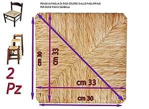 Fondi in paglia 37x37 Ricambi per sedie impagliate [Set di 2] + Feltrini e Matita in OMAGGIO
