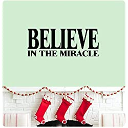 Wandaufkleber Wall Sticker quotes Believe in the miracle Wall Decal Sticker Art Mural Home Decor Quote