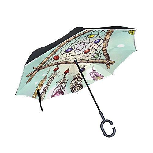 COOSUN Dreamcatcher Paraguas invertido de doble capa para coche y uso al aire libre, resistente al viento, resistente al agua, protección UV, gran paraguas recto con mango en forma de C