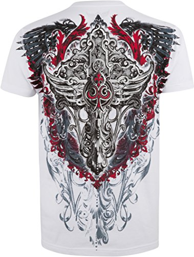 Sakkas Saints Ruhm metallisch geprägten Herren Mode T-Shirt Weiß