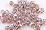 40 Preciosa Glasschliffperlen 4mm Feuerpoliert Facettiert Rund Tschechische Kristall Perlen Farbauswahl (Hell Amethyst AB)
