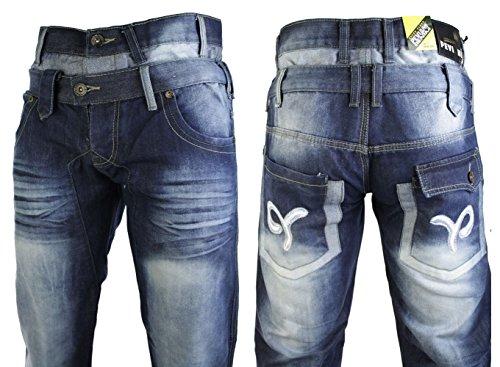 Herrenjeans Designer Doppeltaille Schwarz Blau Gewaschen Straight Cut Lässig Blau