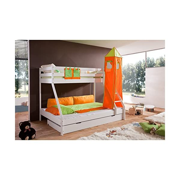 Relita White Varnished Beech Cabin Bed with Bed Drawers and Mike 2 Piece textils. Green/Orange, Relita Width approx. in cm (L x W x H): 155 Height approx. in cm (L x W x H): 160 Length: approx. in cm (L x W x H): 210 1