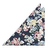 Notch Einstecktuch aus Baumwolle für Herren - Blumen und Blätter in Rosa, Blau & Gelb auf blauer Basis