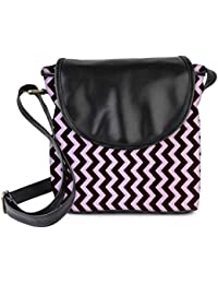 Snoogg Dark And Light Color Strips Womens Sling Bag Small Size Tote Bag