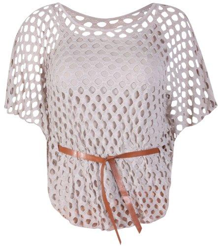 Maglia da donna con borchie scollo a V e cintura, senza maniche Stone