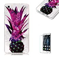 For Huawei P8 Lite Sparkly Sequins soft TPU+IMD Case. Brilliant lovely Colored Drawing Parttern Lightweight Ultra Slim Anti Scratch Transparent Soft Gel Silicone TPU Bumper Protective Case Cover Shell for Huawei P8 Lite - Purple Pineapple