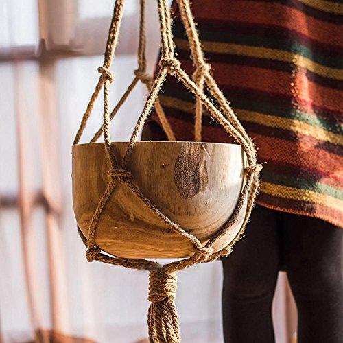 TOOGOO Handgemachte Makramee Pflanze Aufhaenger Blumentopf Halter Topf Hochheben 4 Bein Schnur Seil Kabel, Stil MS05