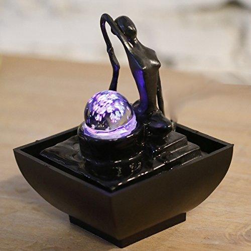 Zen'Light YOGA2 Fontaine Polyrésine Noir 12 x 12 x 17 cm