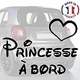 Sticker bébé à bord pour voiture Princesse à bord 20 cm Noir - Anakiss